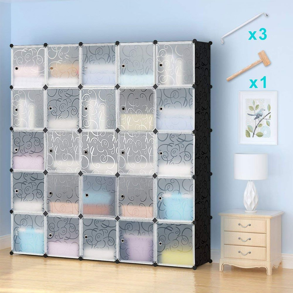 Honey Home Wardrobes Closet, Portable Closets for Bedroom, Plastic DIY Modular Cabinet Shelving Storage Organizer with Easy Closed Doors - 25 Black & White Cubes