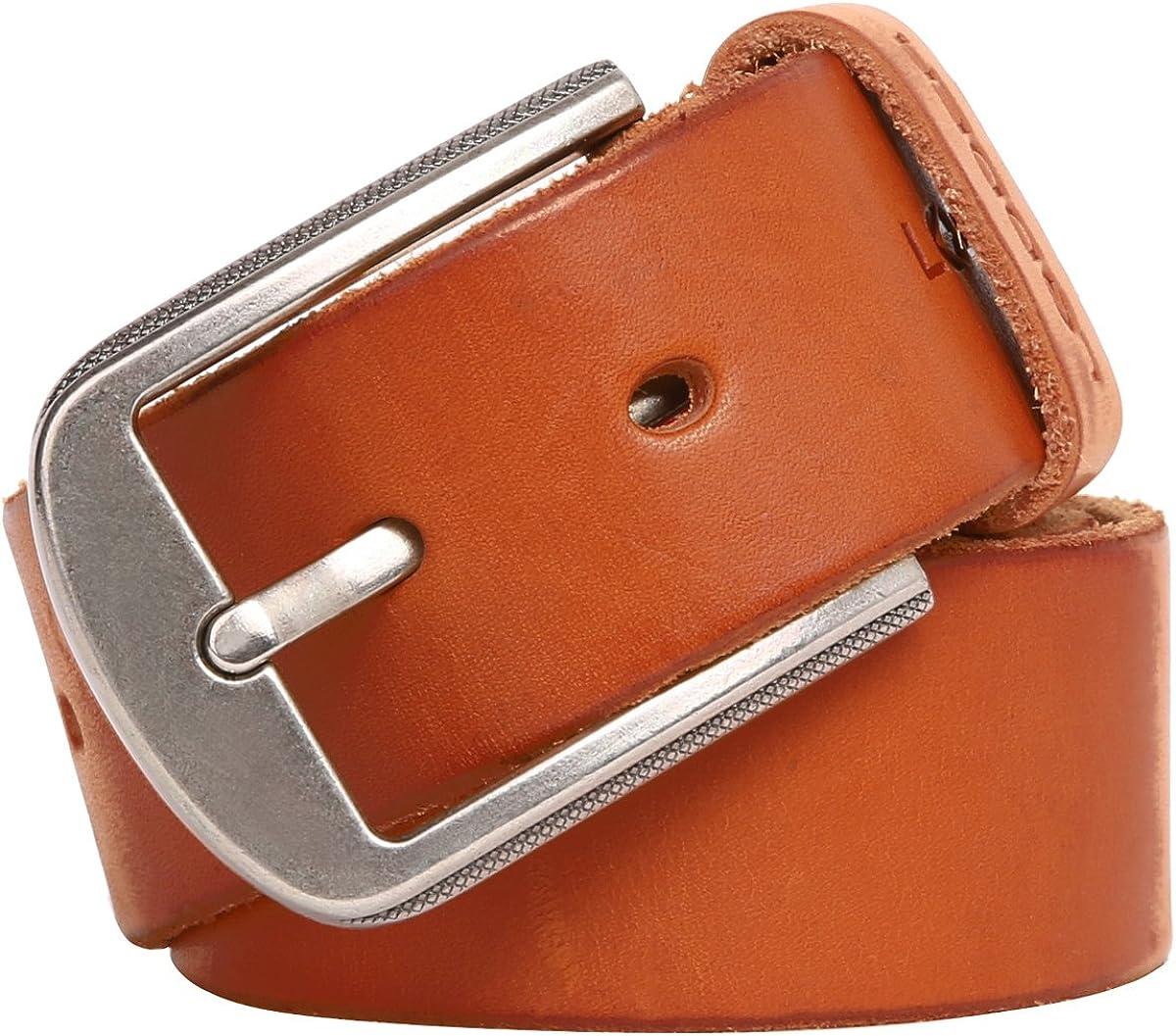 Taschland Cinturón Cuero Genuino para Hombres/caballero con Hebilla Metal