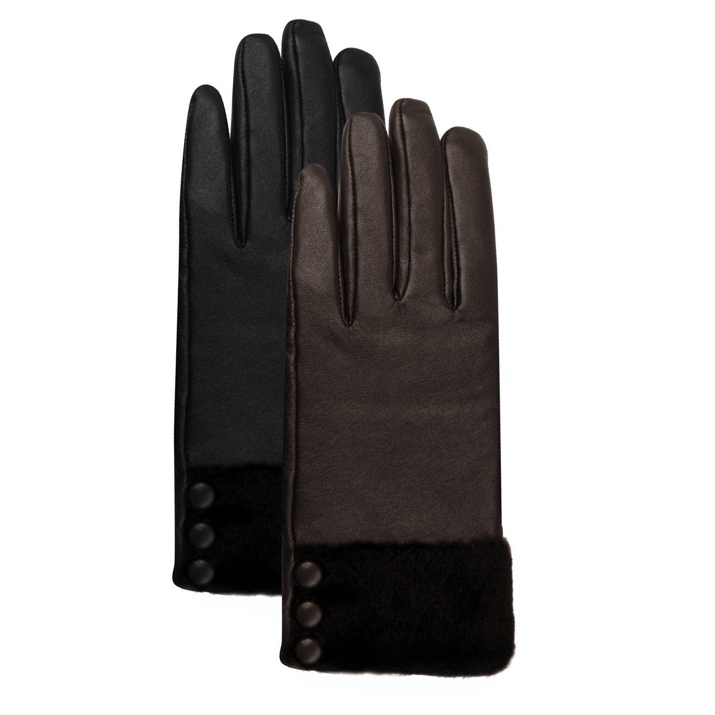 Luxury Lane Women's Fur & Button Trim Cashmere Lined Lambskin Leather Gloves - Chocolate Medium