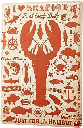 LEotiE SINCE 2004 Cartel Letrero de Chapa Motivos Nostálgicos Me Encanta el marisco Langosta Pescado Animales Marinos: Amazon.es: Hogar