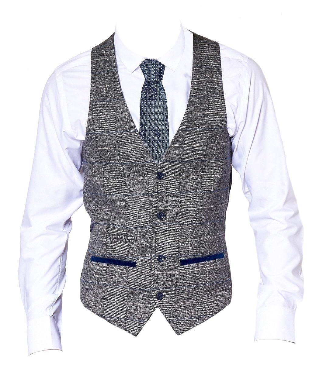 Mens Marc Darcy Tweed Herringbone Smart Check V-Neck Waistcoat - Scott Grey