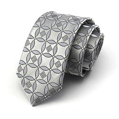 HXCMAN 7cm plateado gris estilo chino estrecha corbata Diseño ...