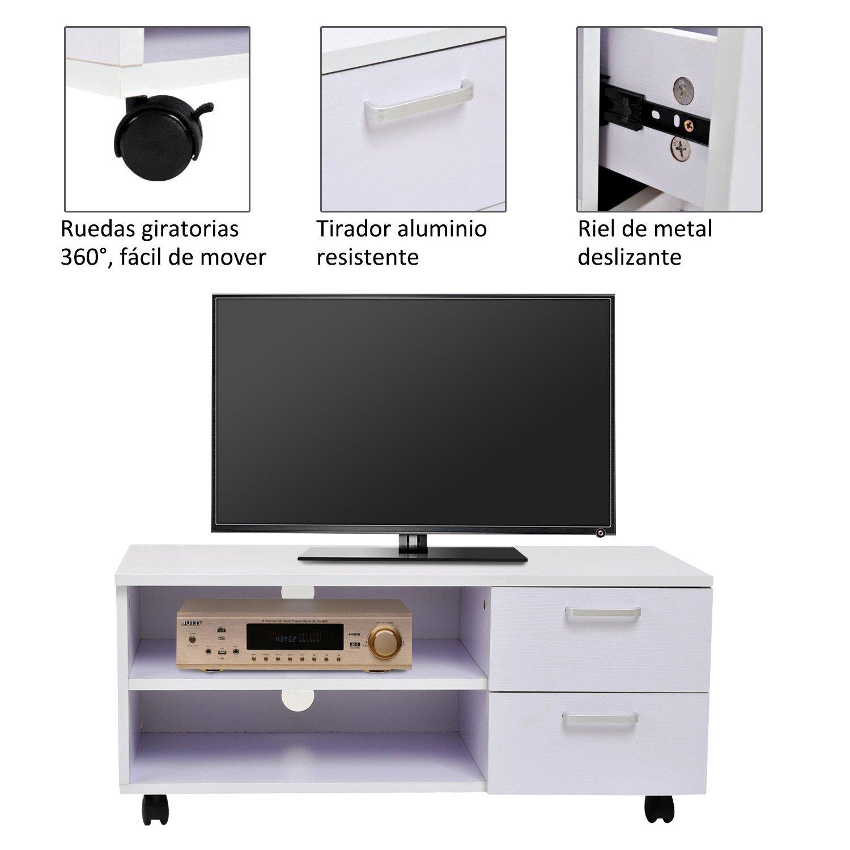 Homcom - Armario móvil Mueble de TV Mesa Tele DVD Madera con Rueda cajones: Amazon.es: Hogar