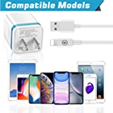 LOOGGO [5-Pack] Phone Charger, (10FT+6FT+3FT) Extra Long Fast Charging & Sync Cable with 2 X Dual Port USB Wall Charger Plug Adapter Compatible with Phone Xs Max XR X 8 7 6S 6 Plus SE 5S Pad