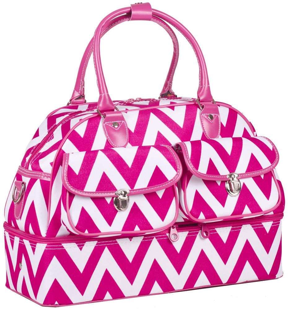 Ever Moda Chevron Women's Drop Bottom Duffel Bag (Pink)