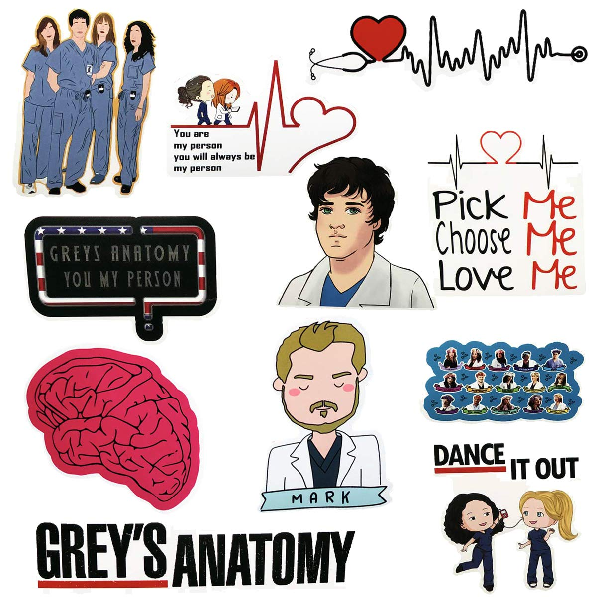 Grey\'s Anatomy Stickers, TV Show Greys Anatomy Funny Stickers Pack, Waterproof Vinyl Sticker for Laptop, Water Bottles, Hydroflasks, Phone, Computer (50 Pack)