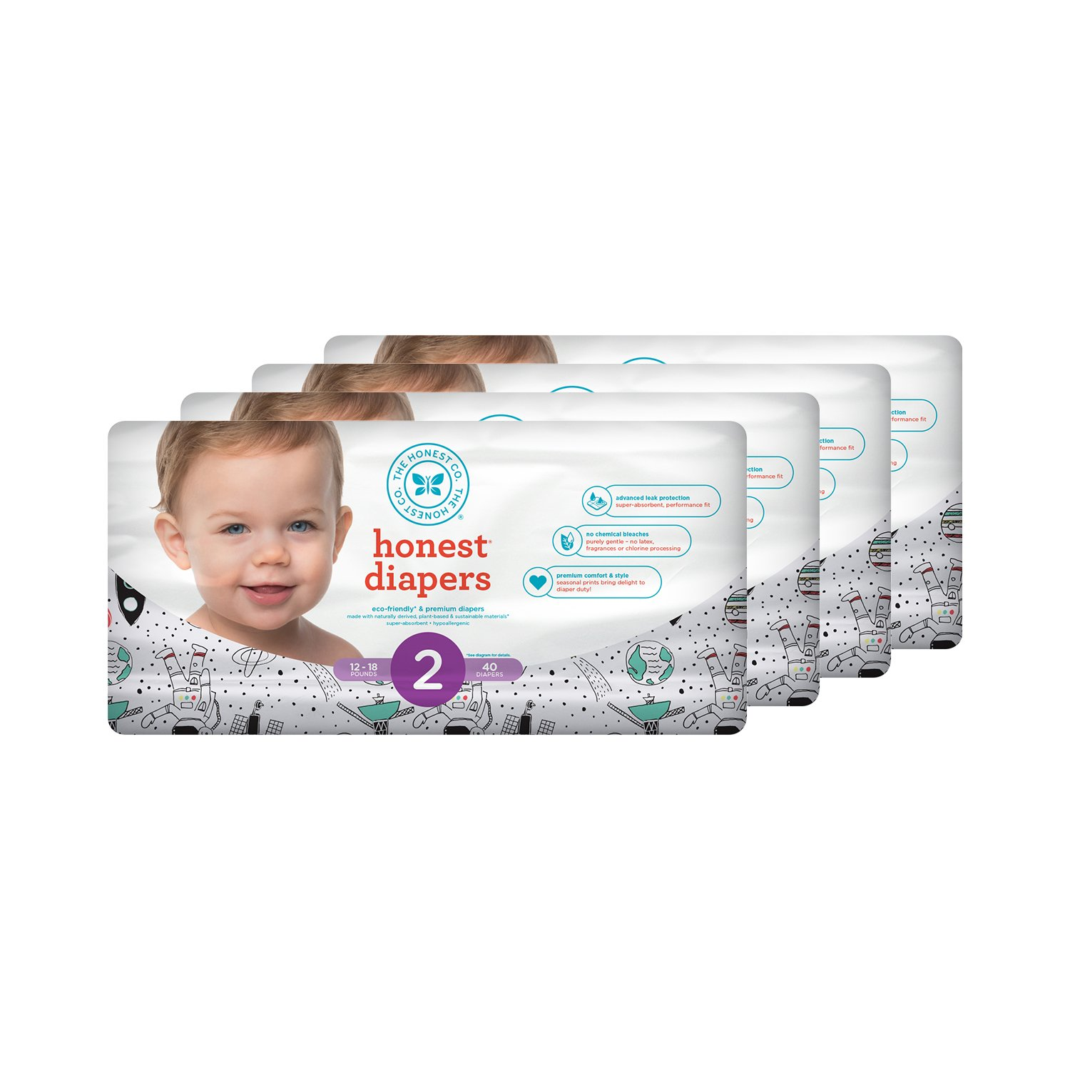 Honest Baby Diapers, Space Travel, Size 2, 160 Count