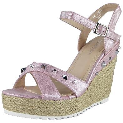 New Womens Ladies Pink Faux Suede Platform Espadrilles Hessian Comfy Shoes Size