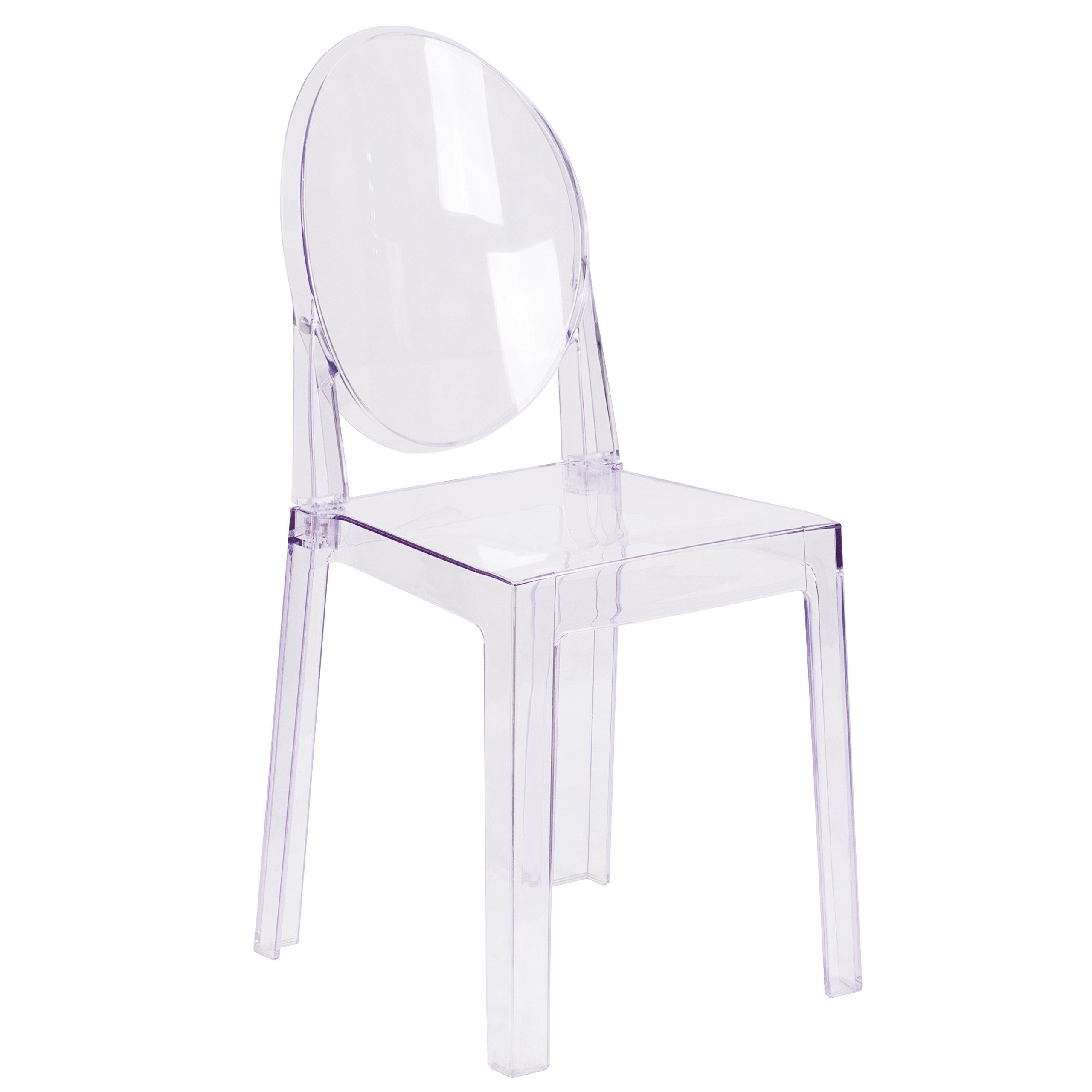 Flash Furniture Ghost Chair with Oval Back in Transparent Crystal by Flash Furniture