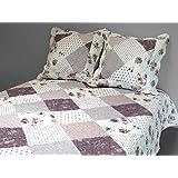 Soleil d'ocre 376095 NADIA Couvre-lit boutis matelassé avec 2 Taies d'oreiller Polyester Rose 260 x 240 cm