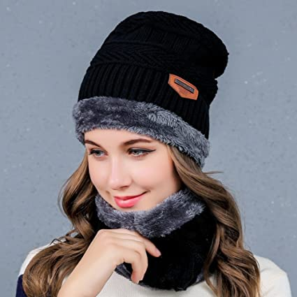 c0897092a0 Hats for Women, 2-Pieces Knit Beanie Skullies Cap & Circle Scarf Baggy Beret