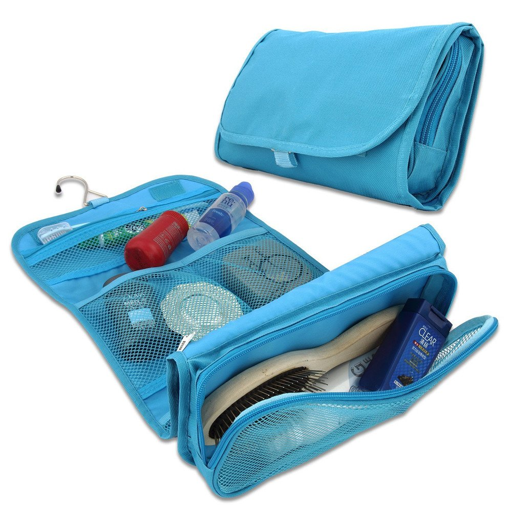 Lujo de las se/ñoras del viaje de lavado neceser de maquillaje plegable de la caja port/átil organizador cosm/ético Azul