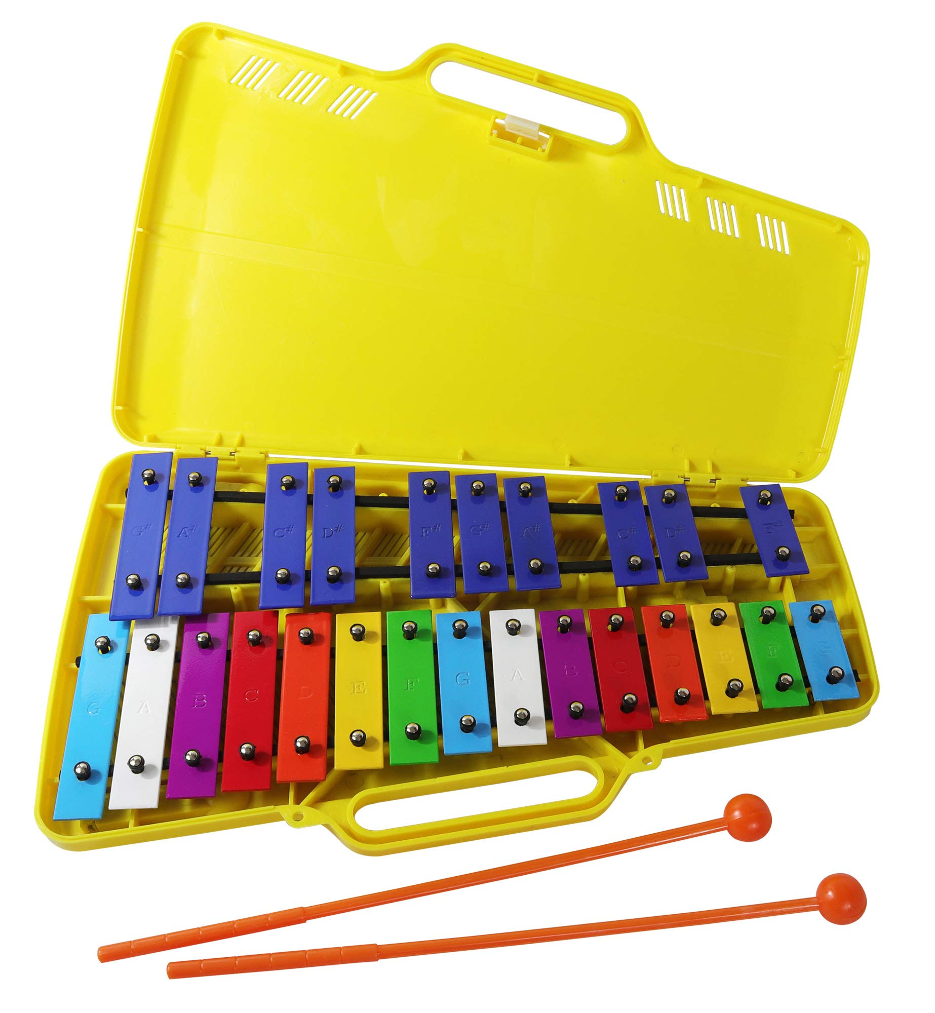 Glockenspiel 25 Notes - Metall Xylophone - Chromatic color-coded keys