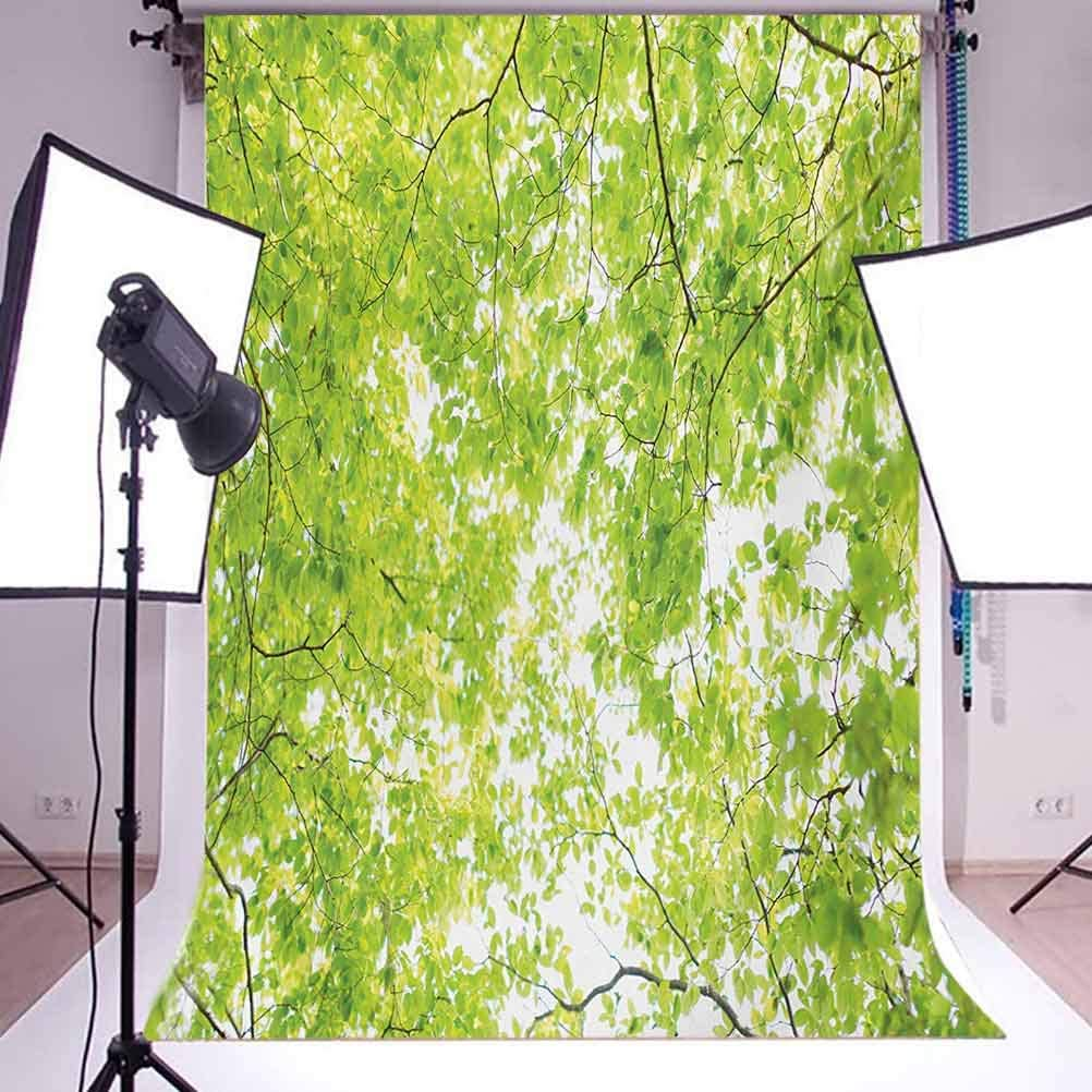 Leaves 6.5x10 FT Backdrop Photographers,Fresh Summer Branches Leaves of A Tree Epic View from The Ground Growth Botanical Picture Background for Baby Shower Bridal Wedding Studio Photography Pictures