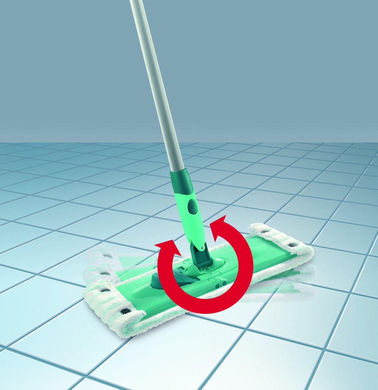 Leifheit r/ückenschonender Bodenwischer Combi M reinigungsstarker Wischer mit 2-Faser Mikrofaser Bezug 140cm Stahlstiel mit praktischem 360/° Gelenk Wischbreite 33cm mit Click-System
