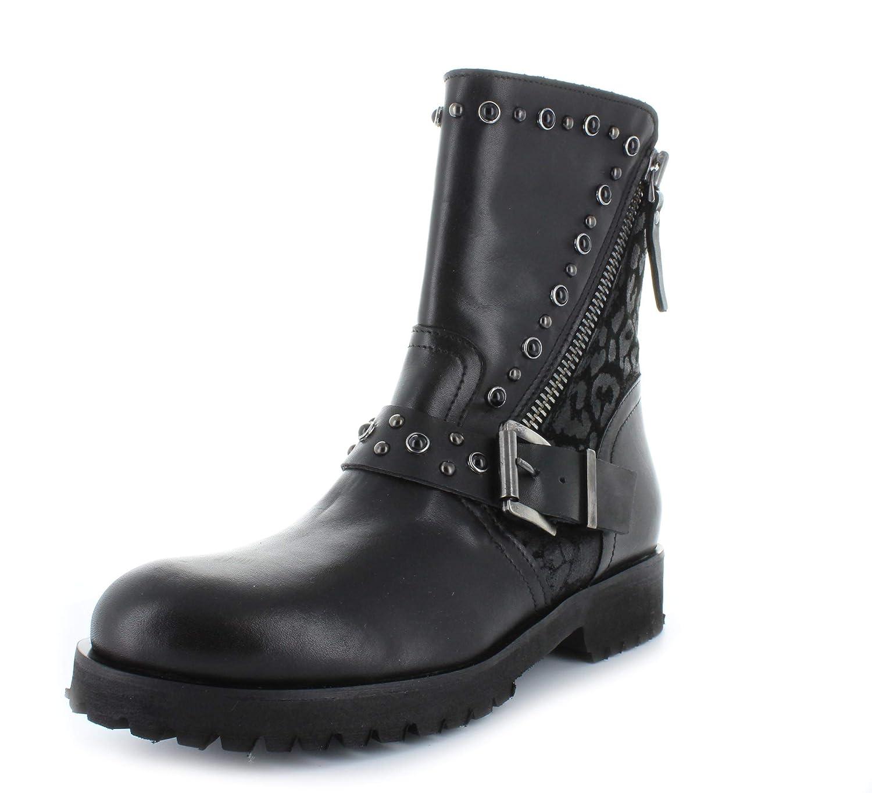 BM 78 Damen Halbhohe Biker-Stiefel mit Reißverschuss Glattleder schwarz
