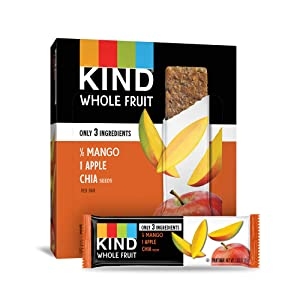 Pressed by KIND Fruit Bars, Mango Apple Chia, No Sugar Added, Gluten Free, 1.2oz, 12 Count