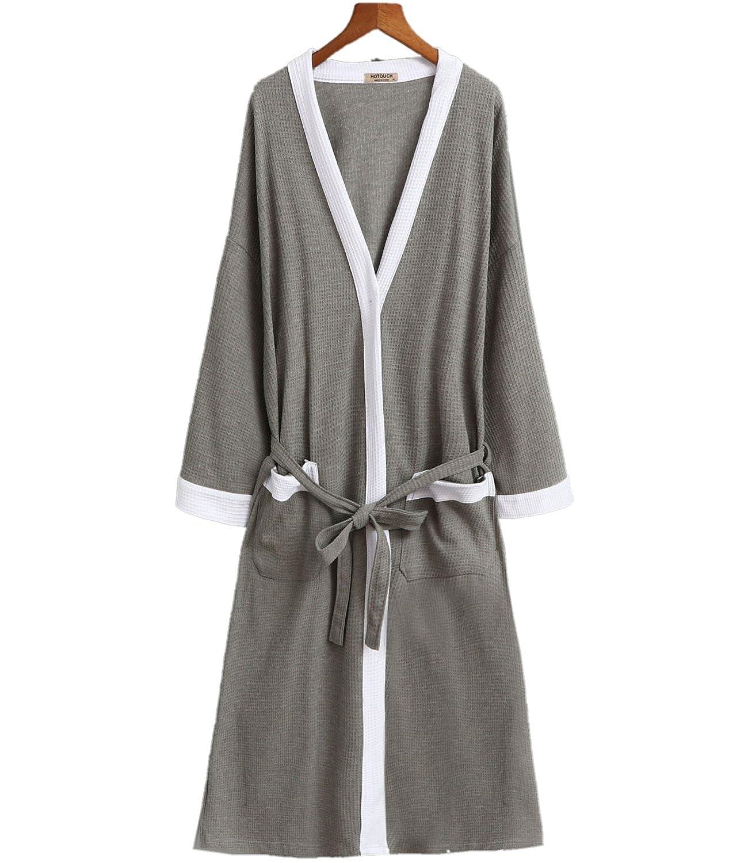 APXPF Men's Cotton Robe, Kimono Waffle Spa Bathrobe