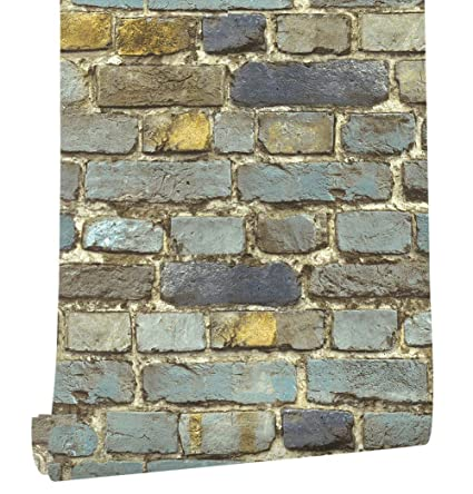 Haokhome 7704 Brick Wallpaper Rolls Blue Yellow Brown Black Distressed Murals Home Kitchen Bathroom Decoration 20 8 X 32 8ft