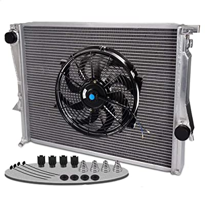 "Aluminum Racing Radiator Replacement For BMW Z3 M COUPE/ROADSTER E36 3.2L L6 1998 1999 2000 2001 2002 +14"" Radiator Cooling Fan: Automotive"