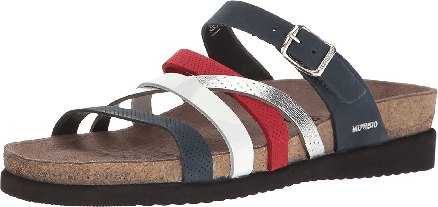 Mephisto Womens Huleda Leather Open Toe Casual Slide Sandals Silver Size 70