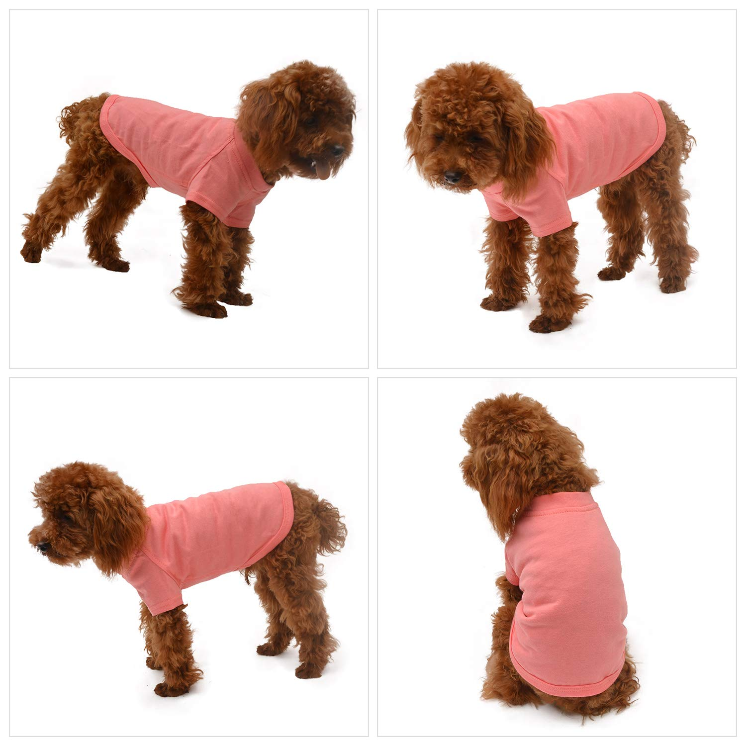 lovelonglong 2019 Pet Clothing Costumes Puppy Dog Clothes Blank T-Shirt Tee Shirts for Large Medium Small Dogs 100/% Cotton Lotuspink S