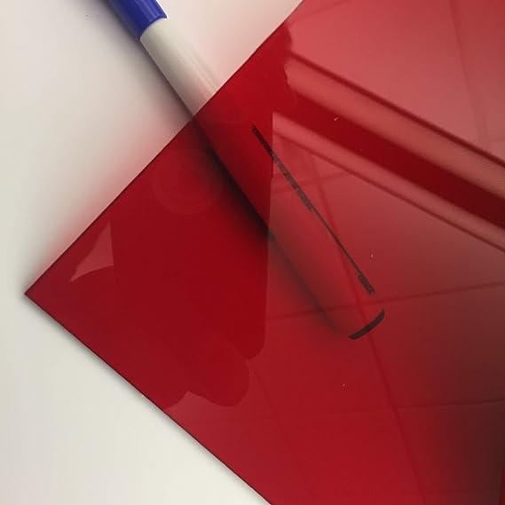 "Red Transparent Acrylic Plexiglass sheet 1//4"" x 12/"" x 12/"" #2423"