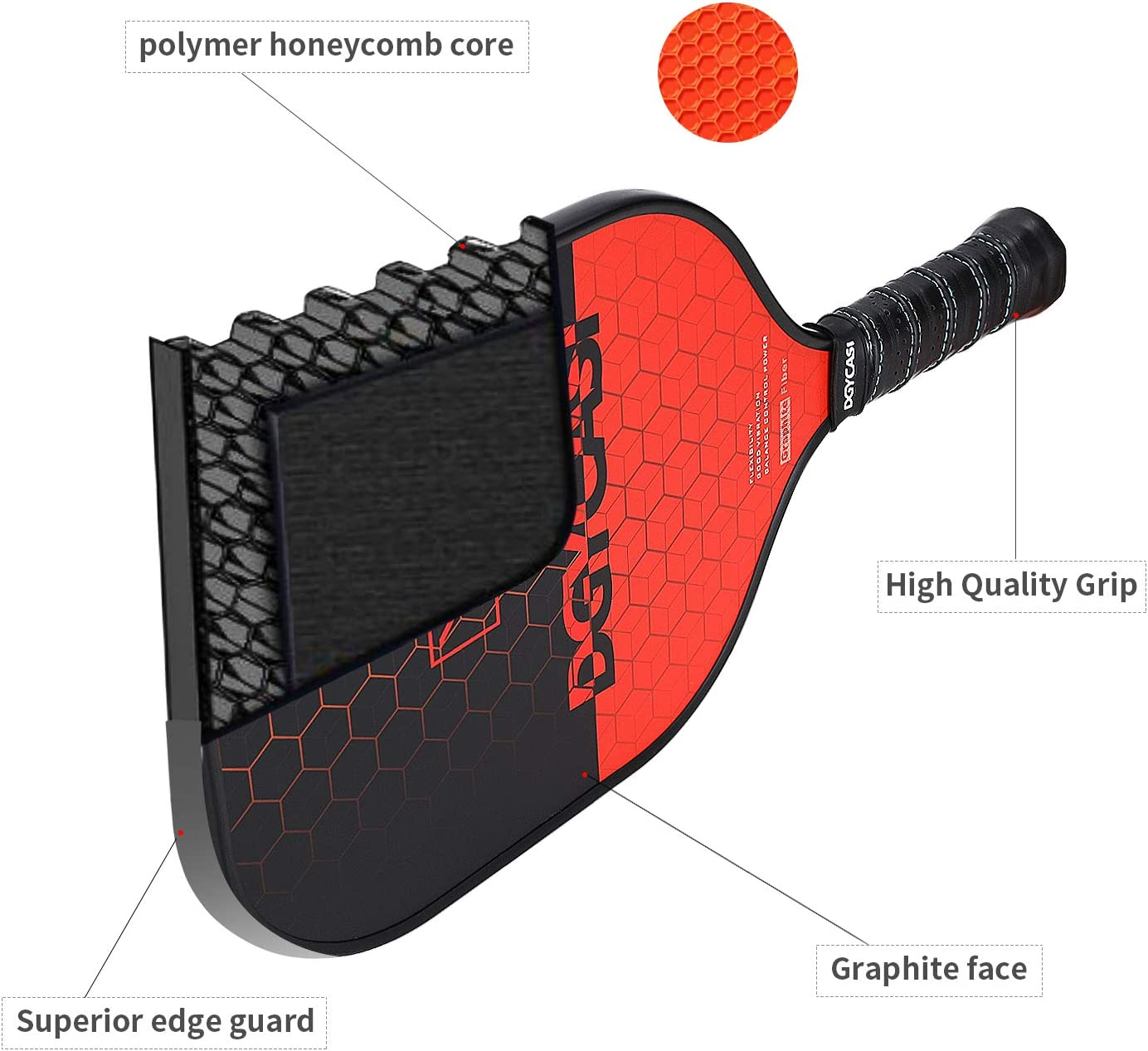 Graphite Pickleball Paddle Set Lightweight Graphite Face Honeycomb Composite Core Paddles Low Edge Guard Sets of 2 Including Racket Bag and 4 Balls,7.97OZ-Table Tennis Racket