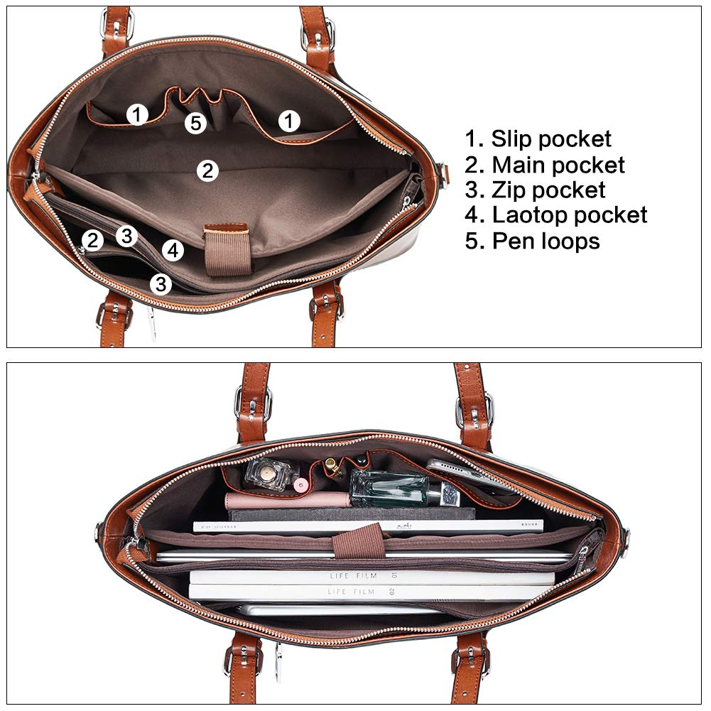 BOSTANTEN Women Leather Laptop Shoulder Handbag Vintage Briefcase 15.6 Computer Work Tote Bag Brown