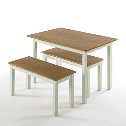 Exceptionnel Zinus Farmhouse Dining Table With Two Benches / 3 Piece Set