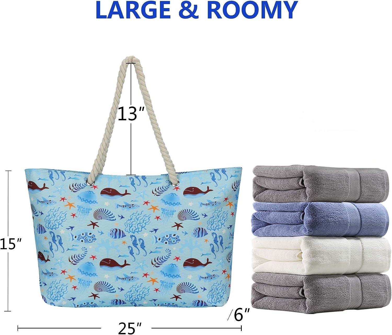 LARK STREET Strandtasche Beach Bag f/ür Damen /& Herren aus robustem Baumwoll Canvas /& Jute Badetasche mit Breiten Kordeln f/ür angenehmen Gro/ße Tasche mit Rei/ßverschluss