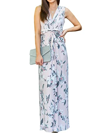 c45ddf3476 Youxiua Womens Floral V Neck Dresses Casual Sleeveless Summer Beach Maxi  Dress