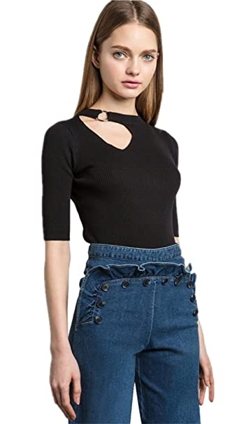 8ed44a23d6ab Arctic Cubic Sexy Asymmetrical Metal O Ring Cut Out Front Short Sleeve T- Shirt Tee