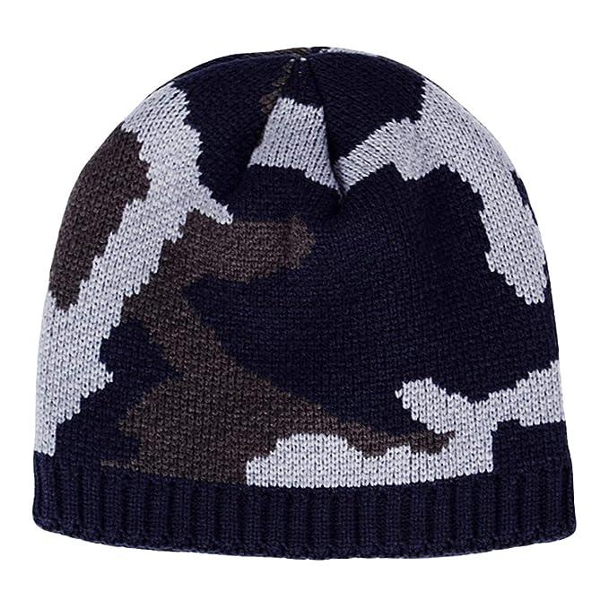 Feiboy Grueso Invierno Hat Camuflaje Acolchado Hombres Gorros De Punto  Cálido Plegable Sombrero Tejido Lavable Casual Gorra Caliente Suave Crochet  de Hats ... 860fc5414eb