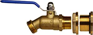 RAINPAL RBS024 V2 Brass Rain Barrel Spigot(Solid Brass Quarter Turn Valve w/Bulkhead Fitting)