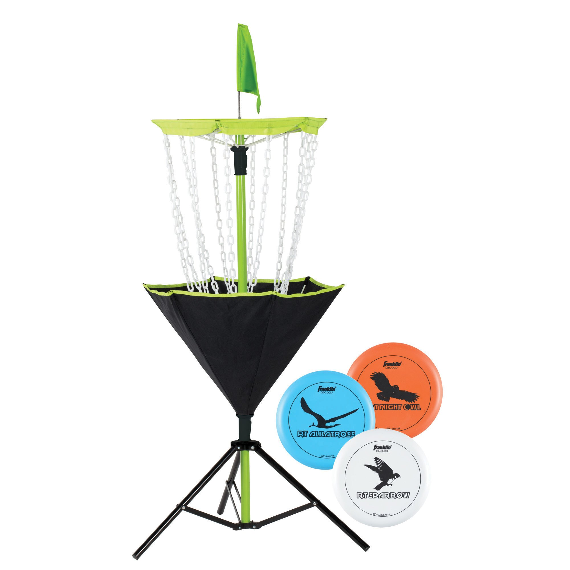 Franklin Sports Disc Golf Set - Disc Golf - Includes Disc Golf Basket, Three Golf Discs and Carrying Bag by Franklin Sports