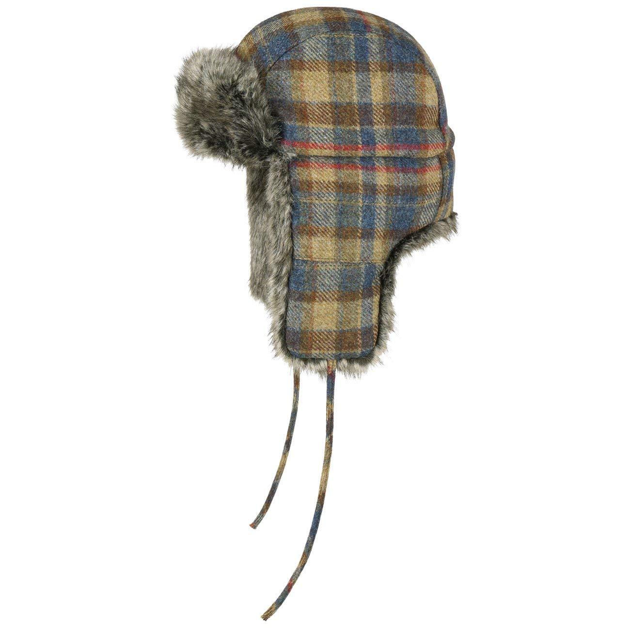 Stetson Virgin Wool Check Fliegermütze Pilotenmütze Lapeer Wintermütze Ohrenmütze für Damen und Herren mit Ohrenklappen, Futter Winter