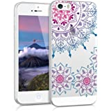 kwmobile Hülle für Apple iPhone SE / 5 / 5S - TPU Silikon Backcover Case Handy Schutzhülle - Cover klar Vintage Blumenring Design Pink Blau Transparent