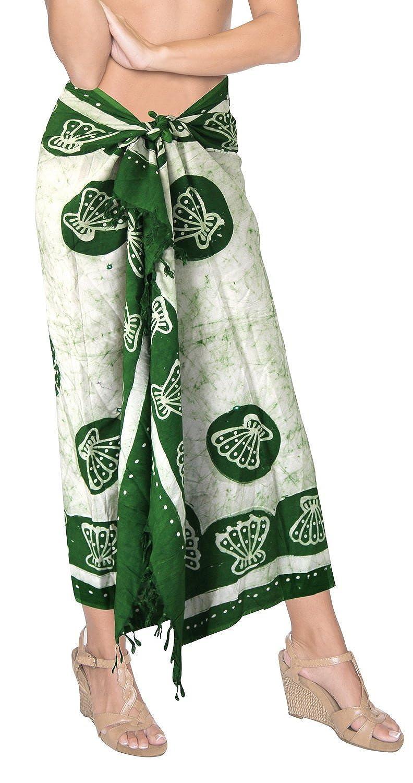 La Leela Batik Meer Schale sanft glatt Rayon grün alles in einem Strand Abnutzung/Badeanzug vertuschen/sundress/Bikini Schlitz Rock/Damen wickeln Pareo/plus Größe Badeanzug 198x99 Sarong Kleid cms
