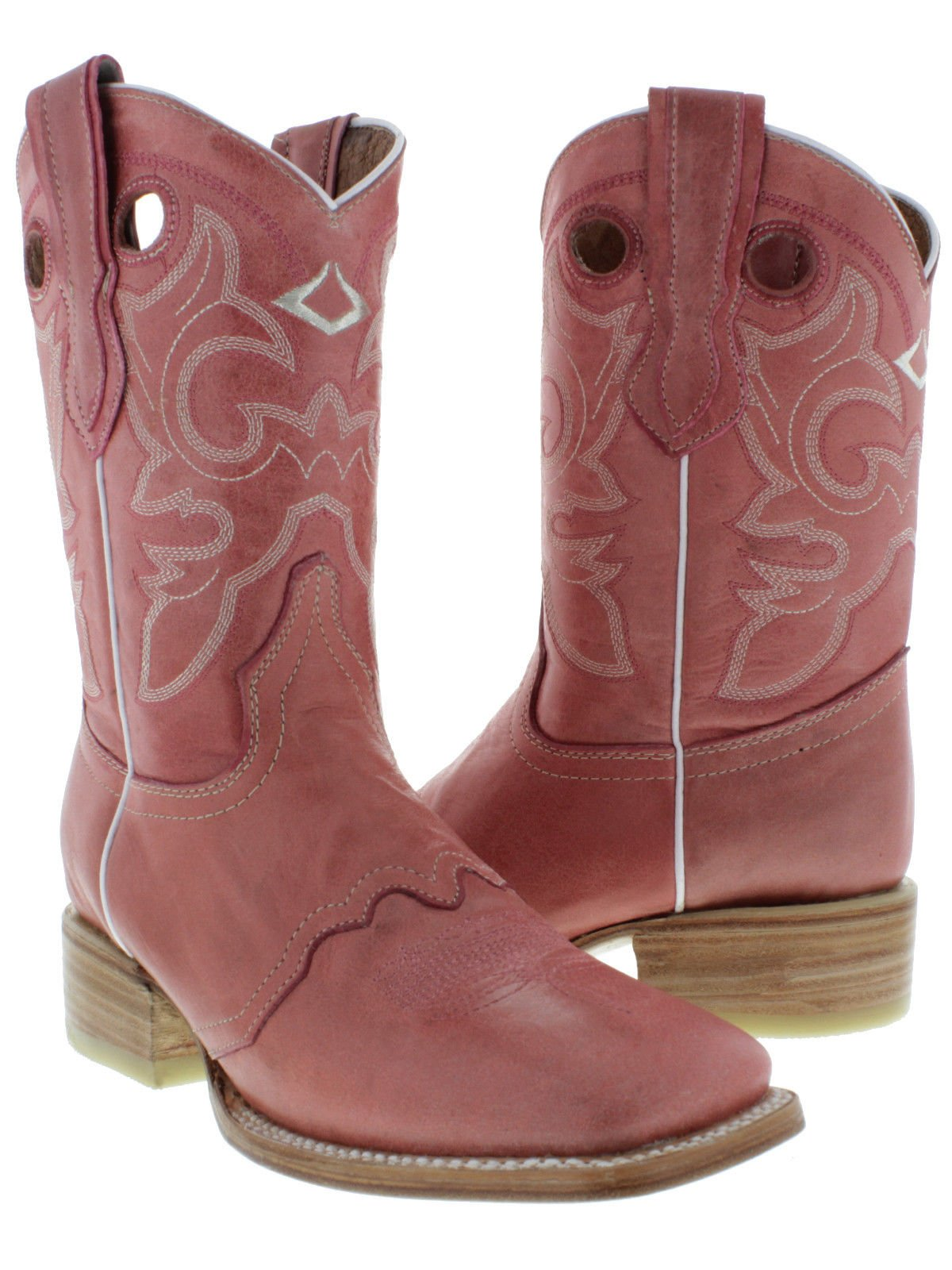 Cowboy Professional - Women's Pink Mid Calf Pull On Cowboy Boots Square Toe 10.5 BM
