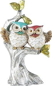 YINASI WGFKVAS Decorative Owl on Tree Figurine, Couple Set Cute Owl Statue House Warming Tabletop Shelf Decor Living Room Bedroom Home Decoration