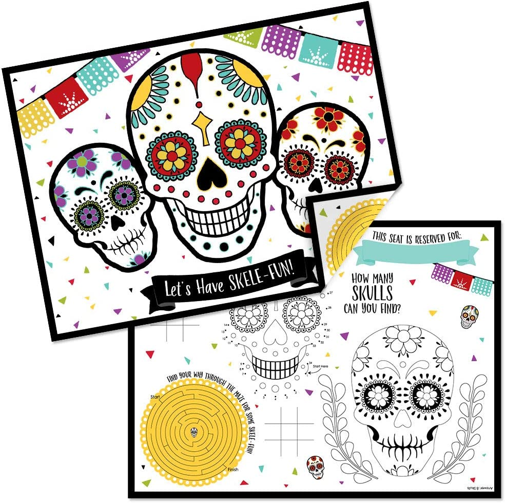 Big Dot of Happiness Day of The Dead - Paper Halloween Sugar Skull Party Coloring Sheets - Activity Placemats - Set of 16
