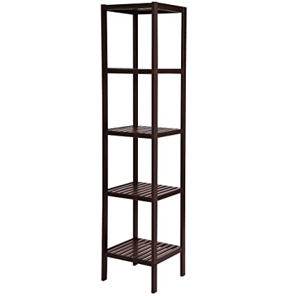 songmics 100 bamboo bathroom shelf 5 tier multifunctional storage rack shelving unit towel tower - Bathroom Shelf Unit