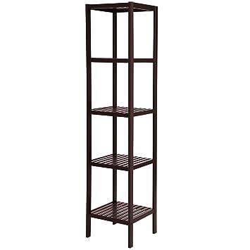 SONGMICS 100% Bamboo Bathroom Shelf 5 Tier Multifunctional Storage Rack Shelving  Unit Brown UBCB55Z