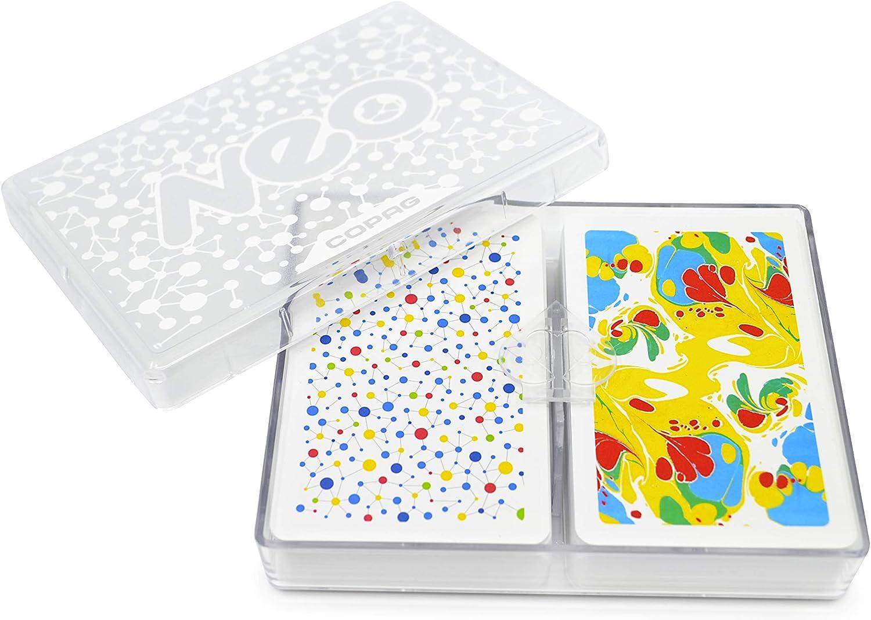 Copag Neo Ink 100% Plastic Playing Cards, Bridge Size Jumbo Index Double Deck Set