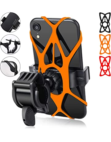 Bike Phone Mount ONE-SECOND Lock 360/°Rotation Adjustable Handlebar Motorcycle Phone Holder with Stainless Steel Clamp Arm Anti Shake Automatic Shrinkage Compatible with iPhone Android 4.5-7.2 inch