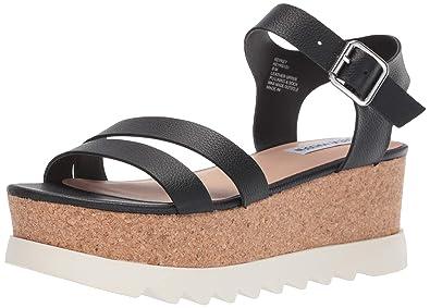 864c3740690 Steve Madden Women s KEYKEY Sandal Black Leather 5.5 ...