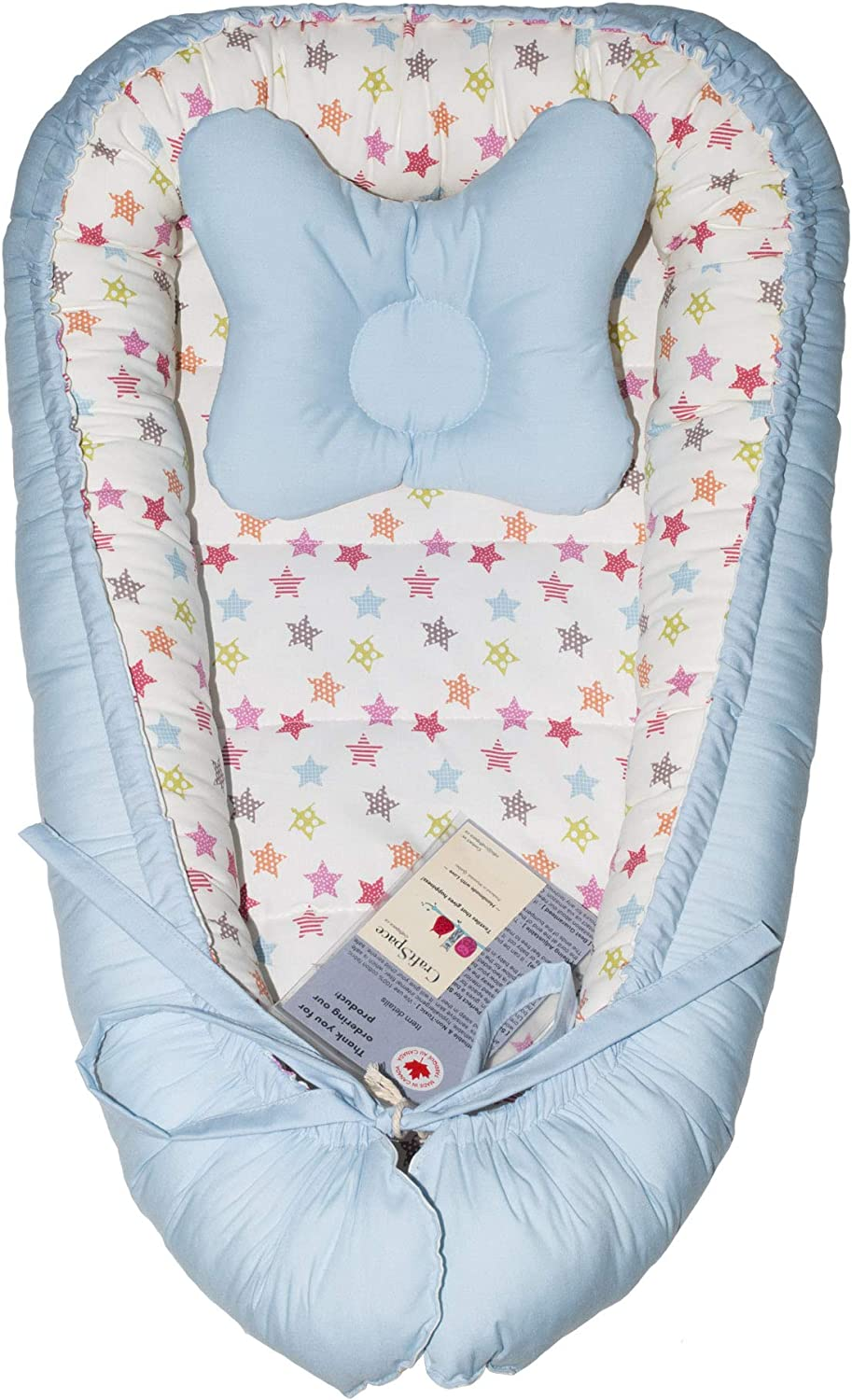 Cotton and Hypoallergenic filler Lounger + Pillow Light blue//Brown stars Double-sides CraftSpace Deluxe Baby Set for newborn babies Various Designs 80cm x 50cm.