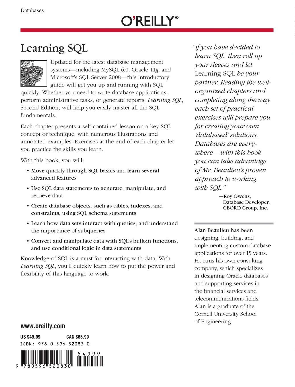 Learning SQL: Amazon co uk: Alan Beaulieu: 0636920520832: Books