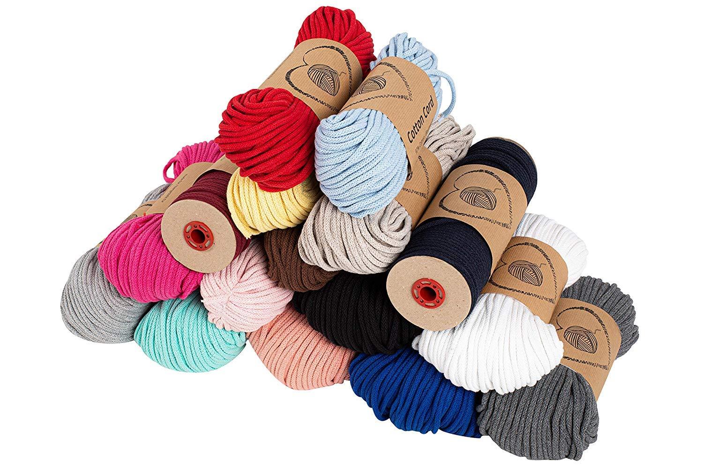 hilo macrame 5 mm trapillo bobinas - cuerda algodon cordon para trenzado tejer a crochet manualidades gris claro 100 Metros